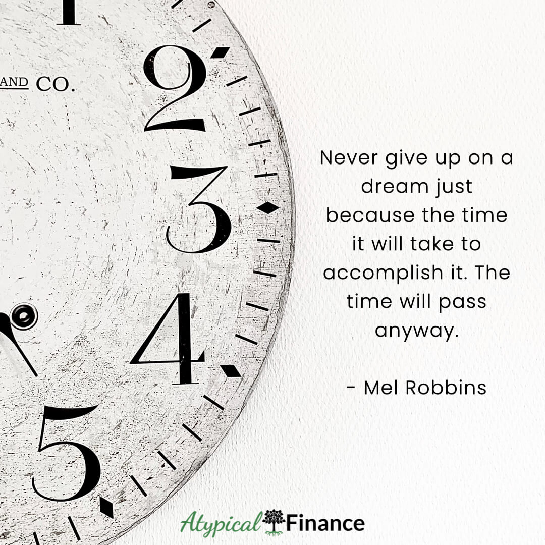Never give up on a dream just because the time it will take to accomplish it. The time will pass anyway. Mel Robbins