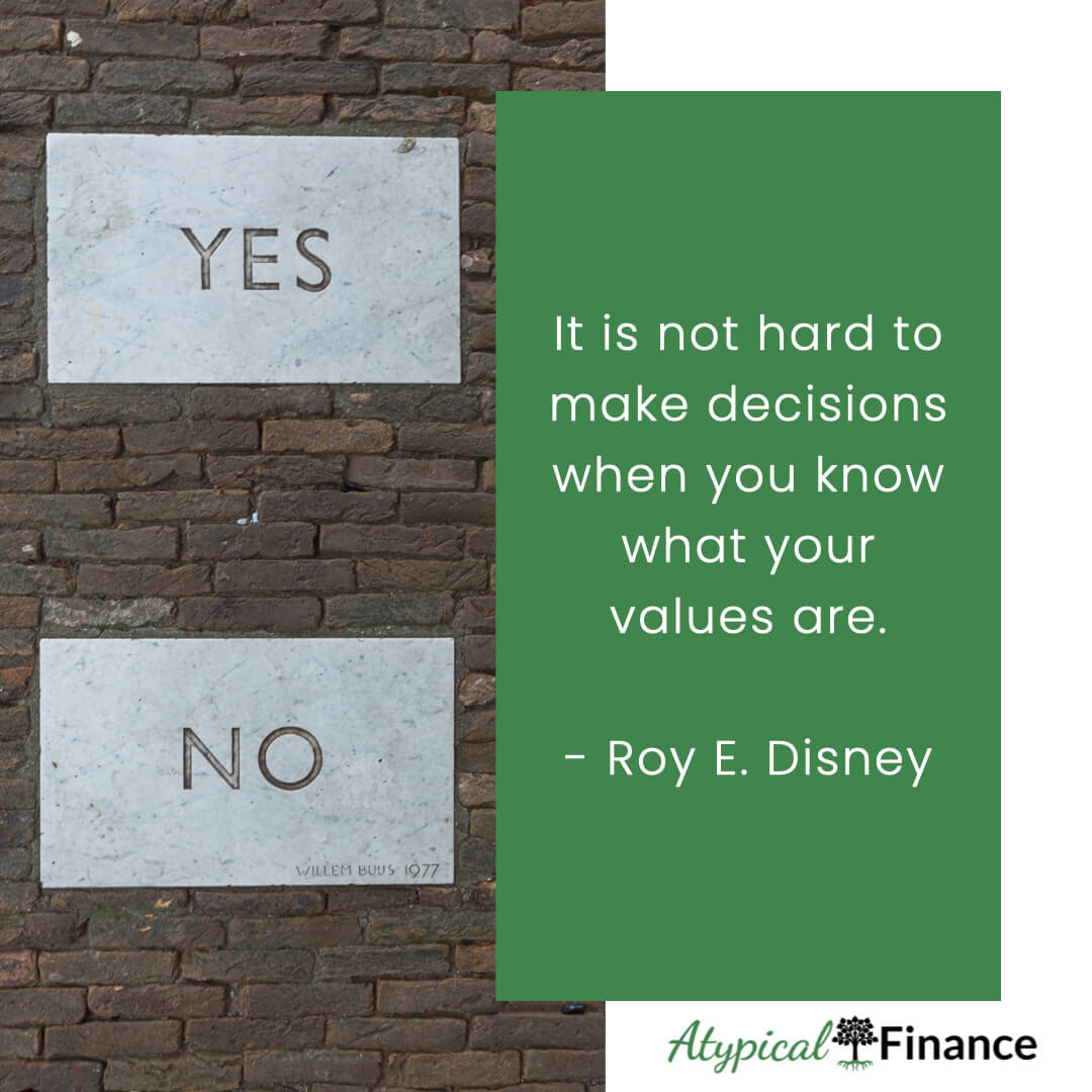 It is not hard to make decisions when you know what your values are. Roy E. Disney